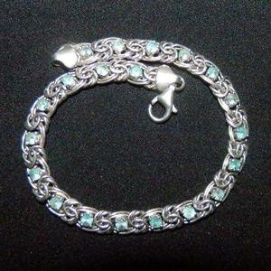 Jewelry - Blue Topaz  Silver Byzantine Tennis Bracelet